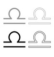 libra symbol zodiac icon outline set grey black vector image
