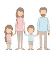 light color caricature faceless family group with vector image vector image