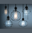 loft style lights icon set vector image vector image