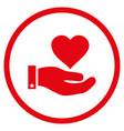love heart offer hand rounded icon vector image vector image
