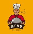 menu logo or label happy chef with tray vector image vector image