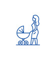 mom with a baby carriage line icon concept mom vector image