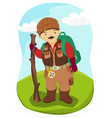 mountaineer hiking man vector image vector image