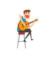 musician playing guitar singing guitarist vector image vector image