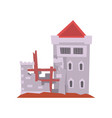 old castle with iron grating on windows red vector image vector image