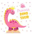 princess dinosaur cute pink girl dino baby child vector image