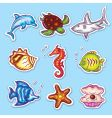 sea life stickers vector image vector image