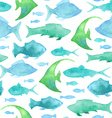 Seamless watercolor fish pattern vector image vector image