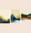set abstract mountain landscape oriental vector image vector image