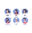 set icons with people avatars men and women vector image vector image