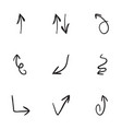 set of 9 hand drawn arrow icons vector image vector image
