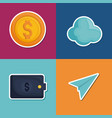 set of fintech icons vector image