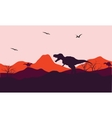 Silhouette of one T-Rex in hill vector image vector image