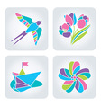 Spring mosaic icons vector image vector image