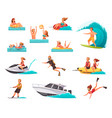 summer sports cartoon icons set vector image vector image