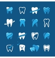 Teeth icon set on blue background vector image vector image