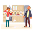 the married couple quarrels in the kitchen vector image vector image
