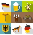 Tourism in Germany icons set flat style vector image vector image