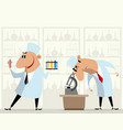 two medical laboratory workers vector image