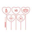valentine day coronavirus outline heart balloon vector image