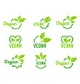 vegan icon set badges emblems and stamps vector image