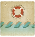 Vintage marine background with lifebuoy vector image vector image