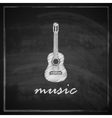 vintage with the guitar on blackboard background vector image vector image