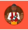 Waiter holding bottle in wine cellar vector image vector image