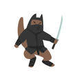 warlike ninja dog character fighting with a katana vector image vector image