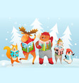 winter kids animals reading books in snow forest vector image