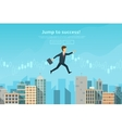 Confident businessman jumping between buildings vector image