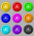 Cyclist icon sign symbol on nine round colourful vector image