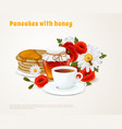 pancakes with honey composition vector image