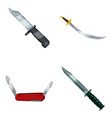 knife icon set cartoon style vector image