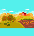 autumn rural landscape with rolling hills and vector image