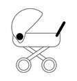 baby cradle symbol black and white vector image vector image