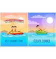 best summer time poster cartoon vector image vector image