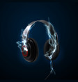 black headphones with thunderbolts vector image