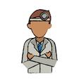 cartoon doctor crossed arms wearing head mirror vector image vector image