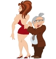 Cartoon man and girl in red dress vector image vector image
