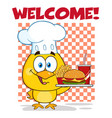 chef yellow chick cartoon character vector image vector image