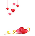 couple hearts with golden calligraphy stripe vector image vector image