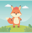 cute and little fox in field vector image