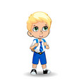cute little blonde school boy with big green eyes vector image vector image