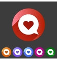 Dating love chat romantic heart icon flat web sign vector image