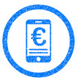 euro mobile bank account rounded icon rubber stamp vector image