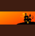 flat style halloween orange banner with scary vector image