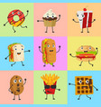 food mascot cute icon set character vector image