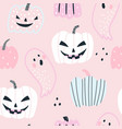 funny halloween seamless pattern with pastel vector image