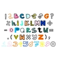 hand drawn alphabet and numbers Funky vector image vector image